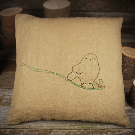 linen embroidered pillow- bird