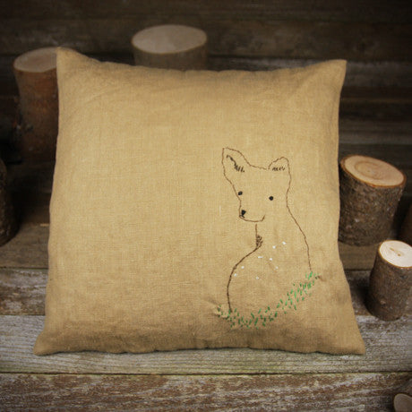 linen embroidered pillow- deer