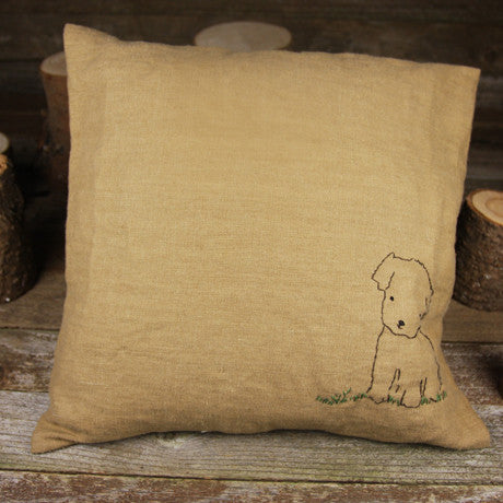 linen embroidered pillow- puppy