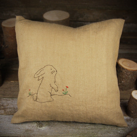 linen embroidered pillow- rabbit