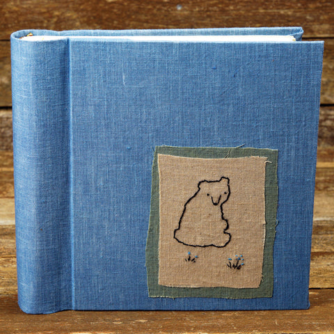 plant dyed linen album with embroidered patch - bear