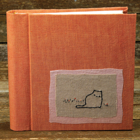 plant dyed linen album with embroidered patch - cat