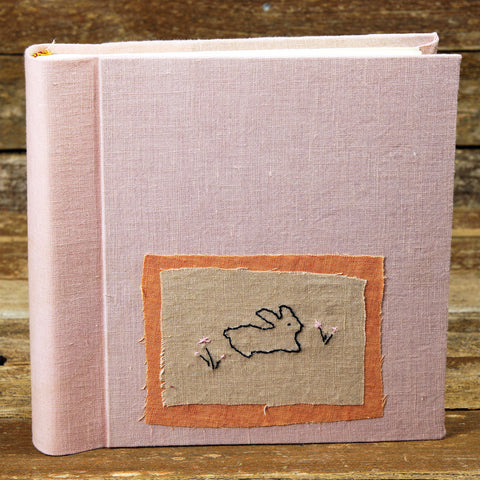 plant dyed linen album with embroidered patch - rabbit