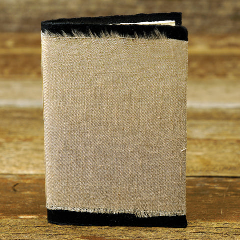small raw edge linen notebook: lavender brown