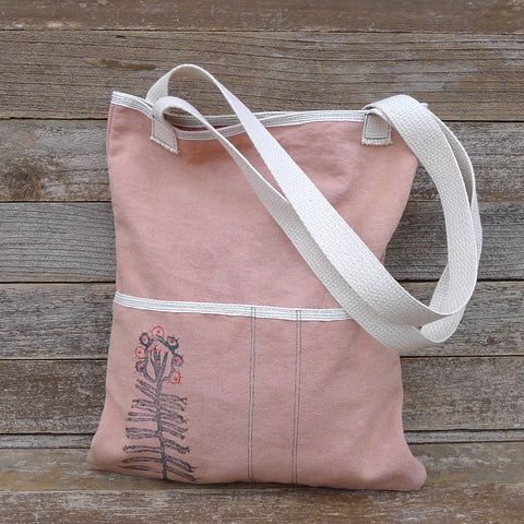 block printed tote bag: dusty rose/botanical
