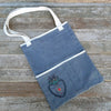 block printed tote bag: charcoal/heart