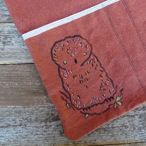 block printed tote bag: terracotta/owl
