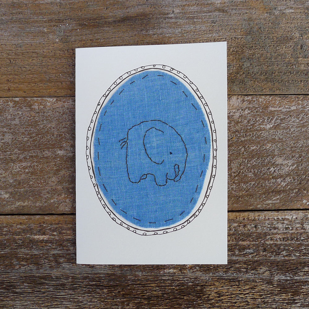 card: blue elephant patch