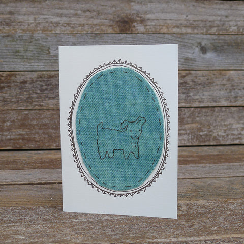 card: green dog patch