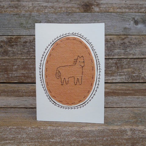 card: orange horse patch