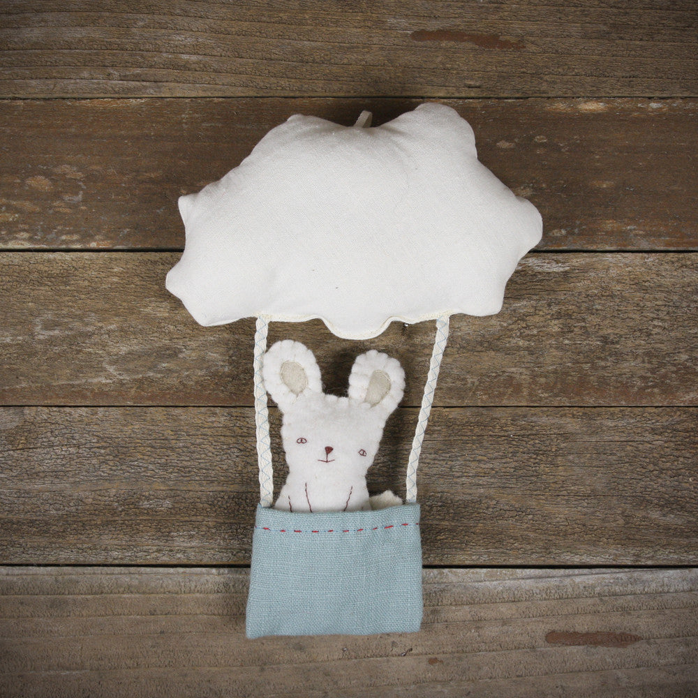 cloud and bucket with finger puppet: rabbit