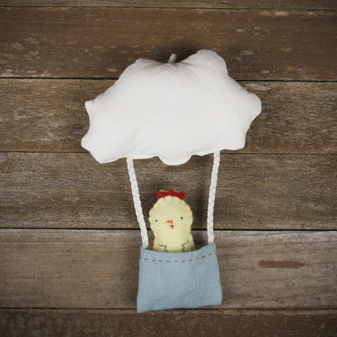 cloud and bucket with finger puppet: chick