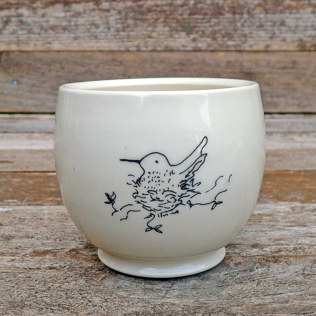 cup or planter: hummingbird