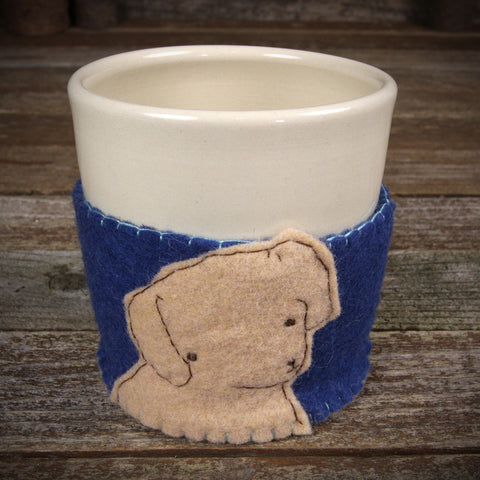 cup in cozy: dog