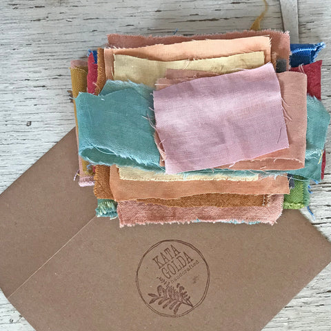 remnant envelope: assortment of plant-dyed textiles