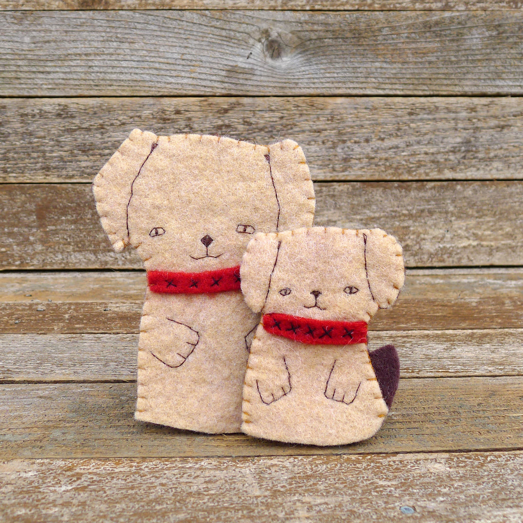 finger puppets: mama dog and puppy