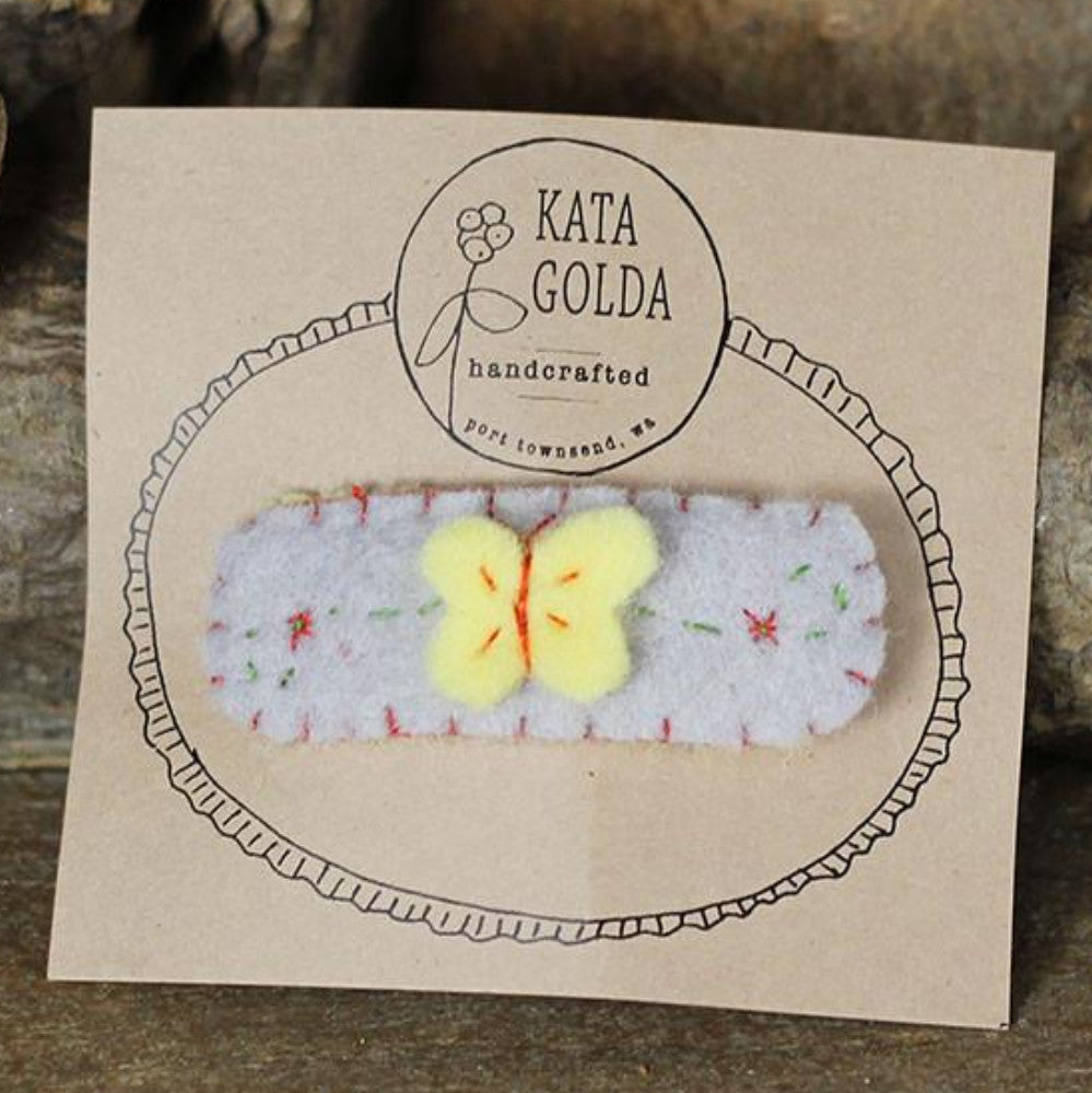 hair clip:  yellow butterfly on gray