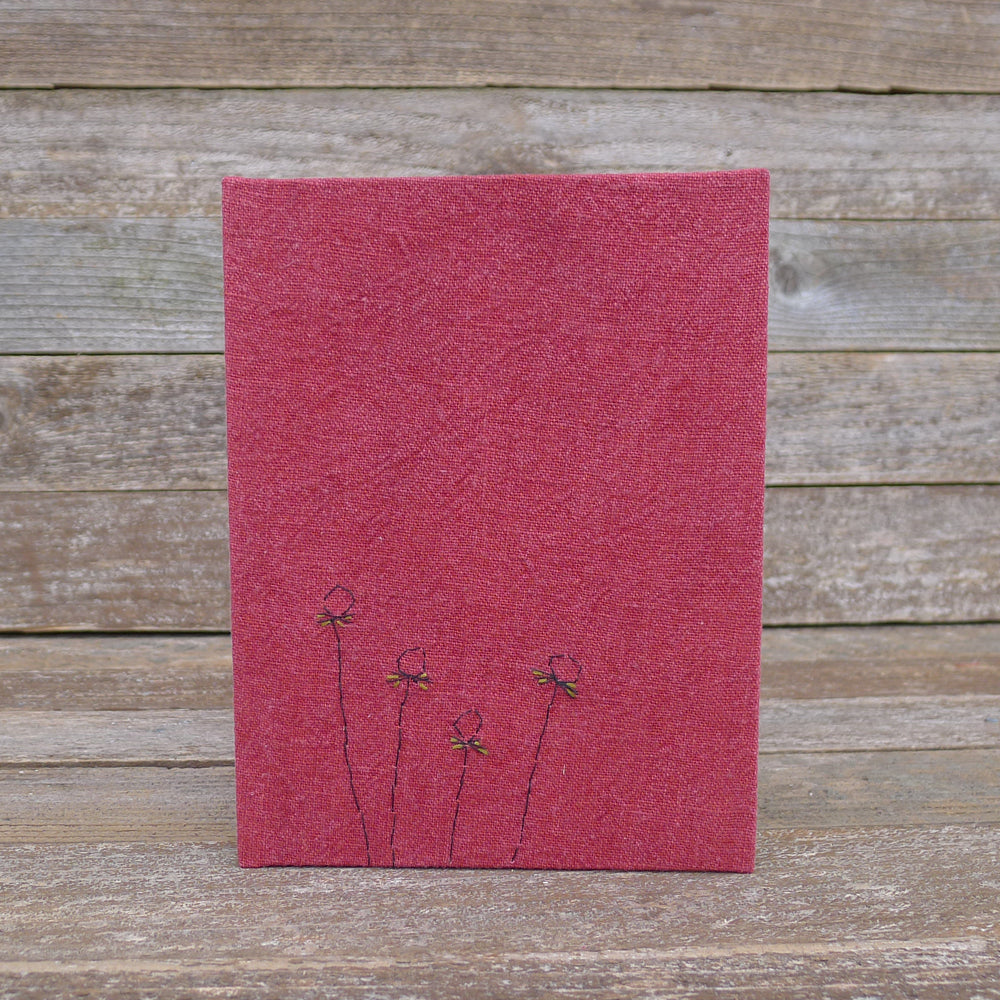 hand-bound journal: red botanical