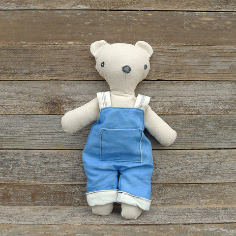 heirloom teddy bear: blue overalls