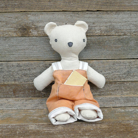 heirloom teddy bear: orange overalls