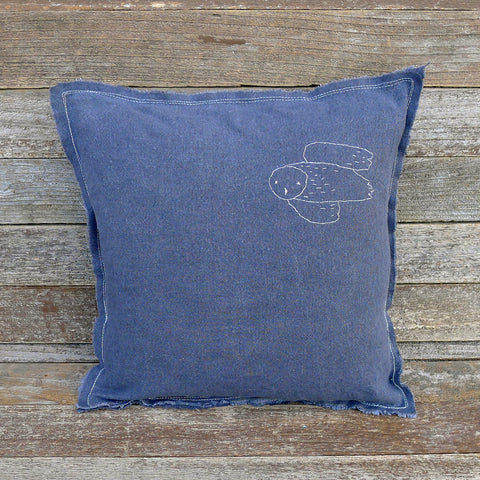 plant-dyed organic cotton/hemp pillow: owl/charcoal