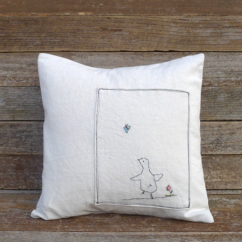 organic cotton/hemp pillow: duck & butterfly