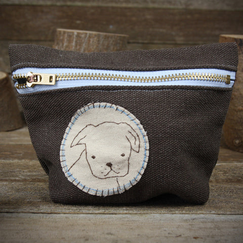 hemp stand up zipper pouch: dog