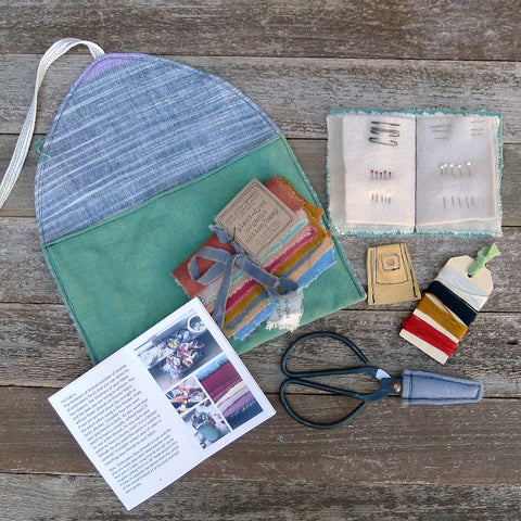 imperfect patchwork & little stitchings kit: green