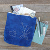 indigo zipper pouch: rabbit and carrot