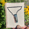 hand-stitched indigo amulet charm with adjustable clasp: sequin
