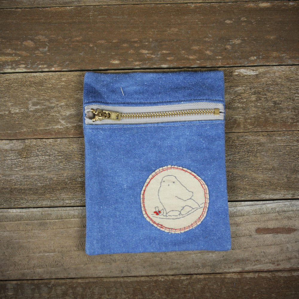 indigo zipper pouch: bird
