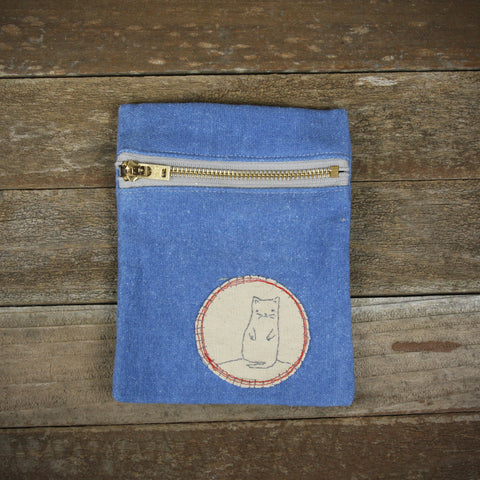 indigo zipper pouch: cat