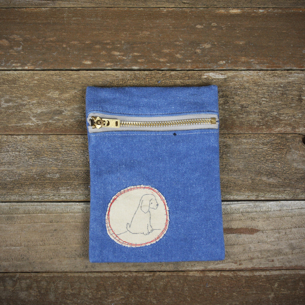 indigo zipper pouch: dog