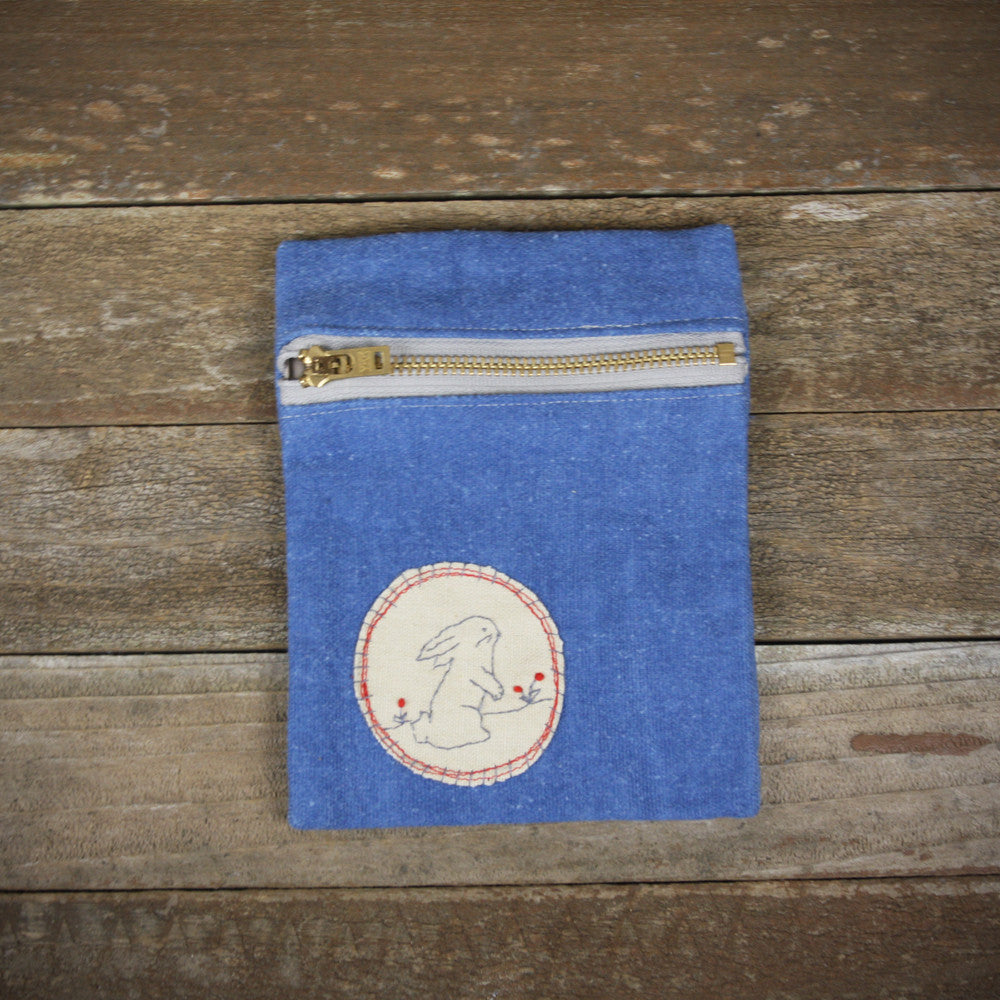indigo zipper pouch: rabbit