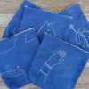indigo zipper pouch: hand with thread