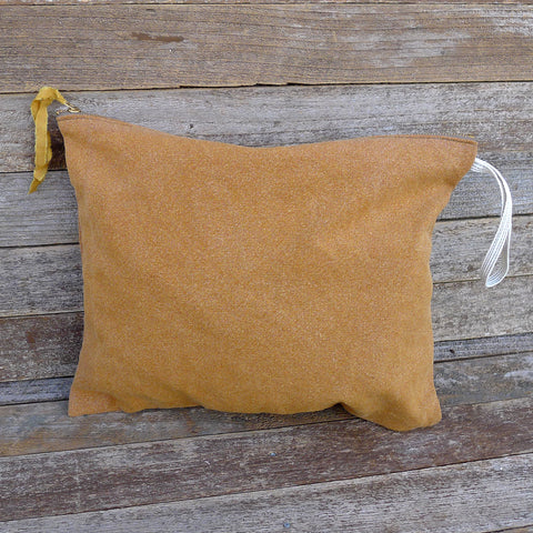 large plant-dyed zipper pouch: ochre