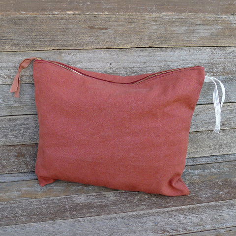 large plant-dyed zipper pouch: terracotta