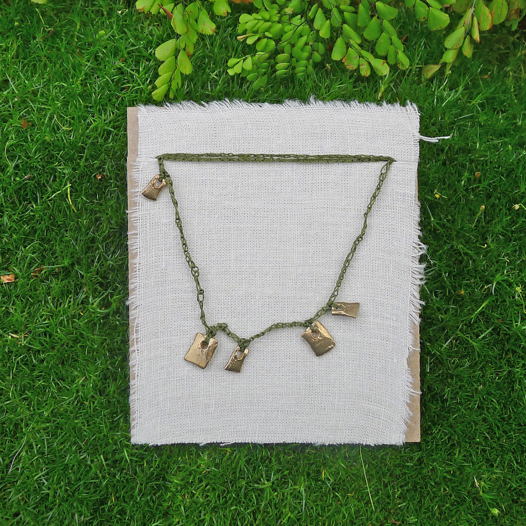 five charm necklace: shale and tiny tile