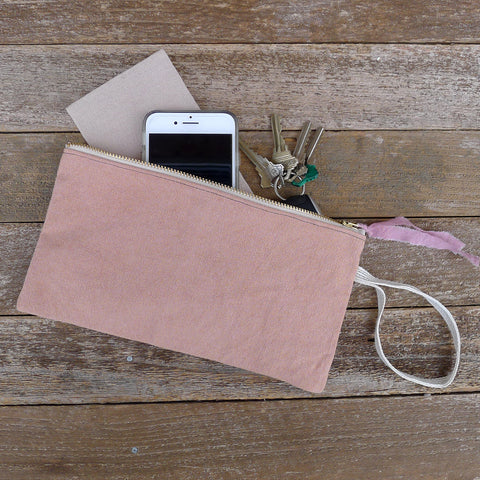 zipper notions pouch: dusty rose