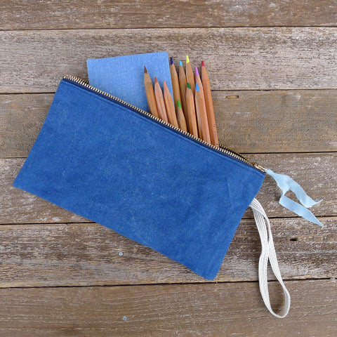 zipper notions pouch: blue