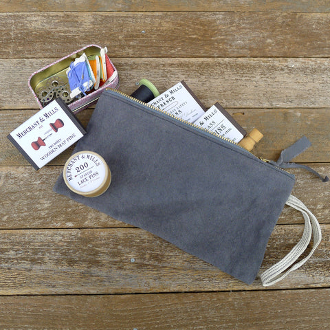 zipper notions pouch: charcoal