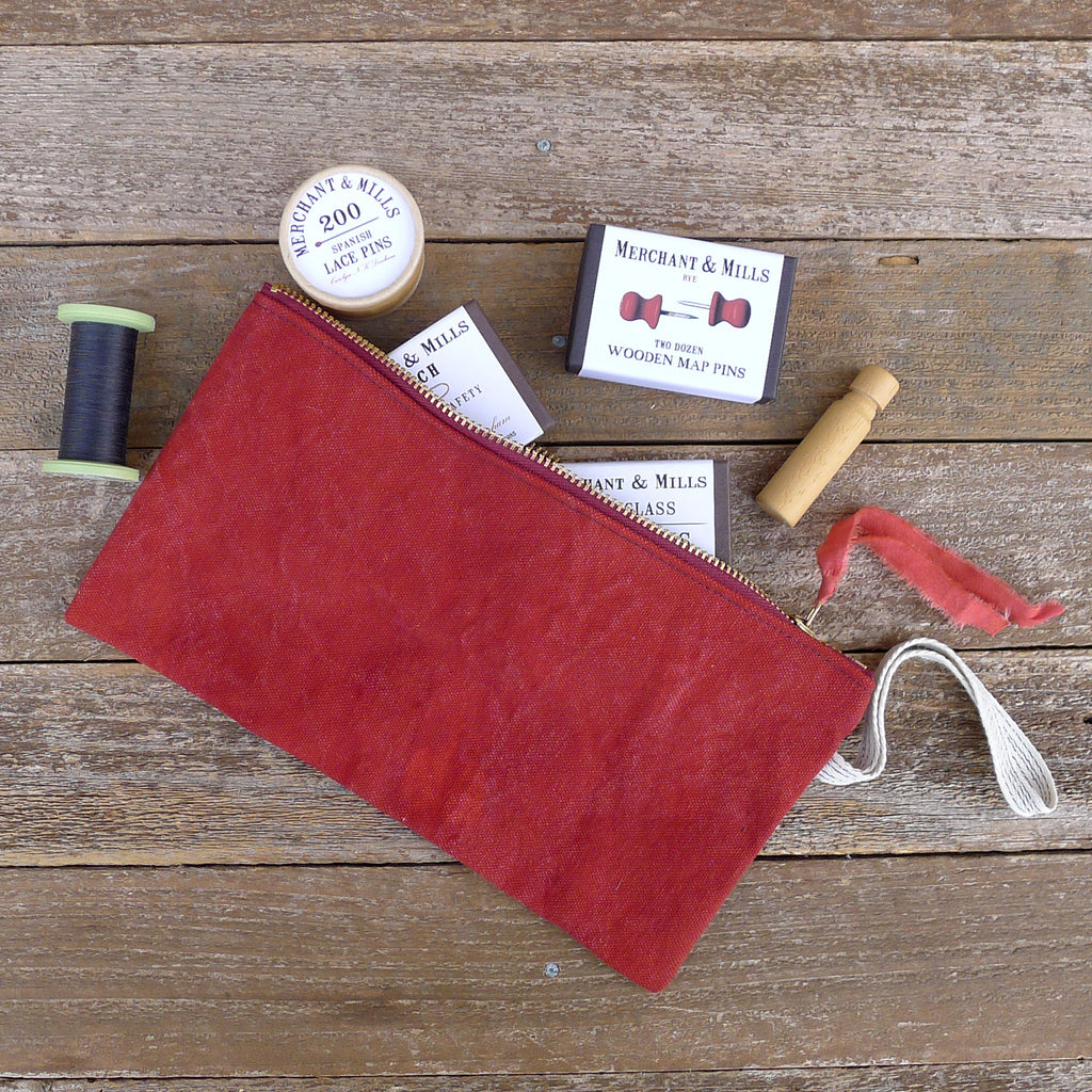 zipper notions pouch: red