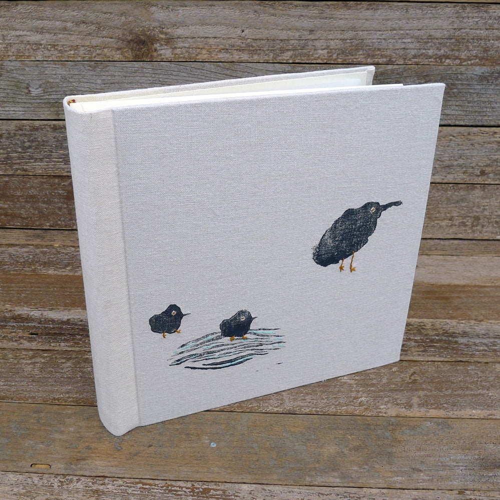 block printed photo album: birds