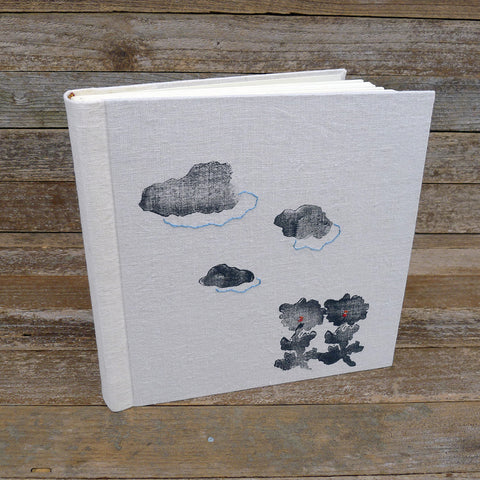 block printed photo album: flower & clouds