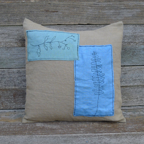 plant dyed linen patch pillow: botanical blue and green