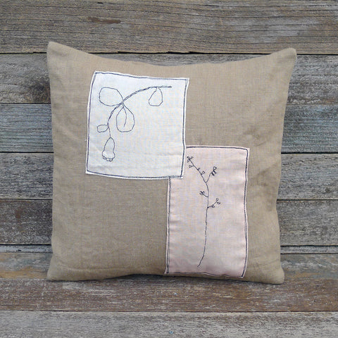 plant dyed linen patch pillow: botanical dusty rose and walnut