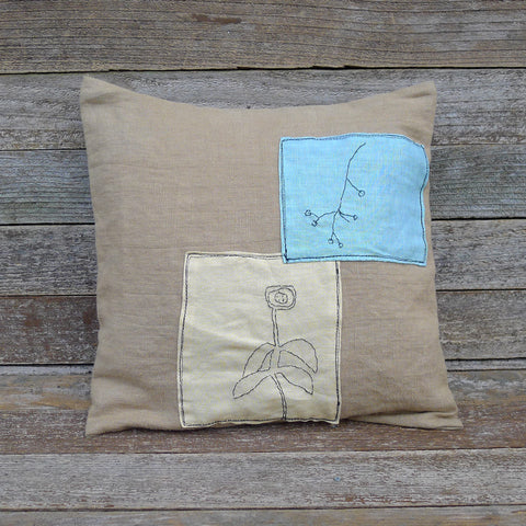 plant dyed linen patch pillow: botanical yellow and green