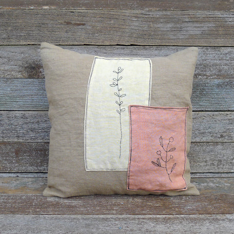 plant dyed linen patch pillow: botanical yellow and orange