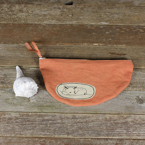 wide plant dyed zipper pouch: deer