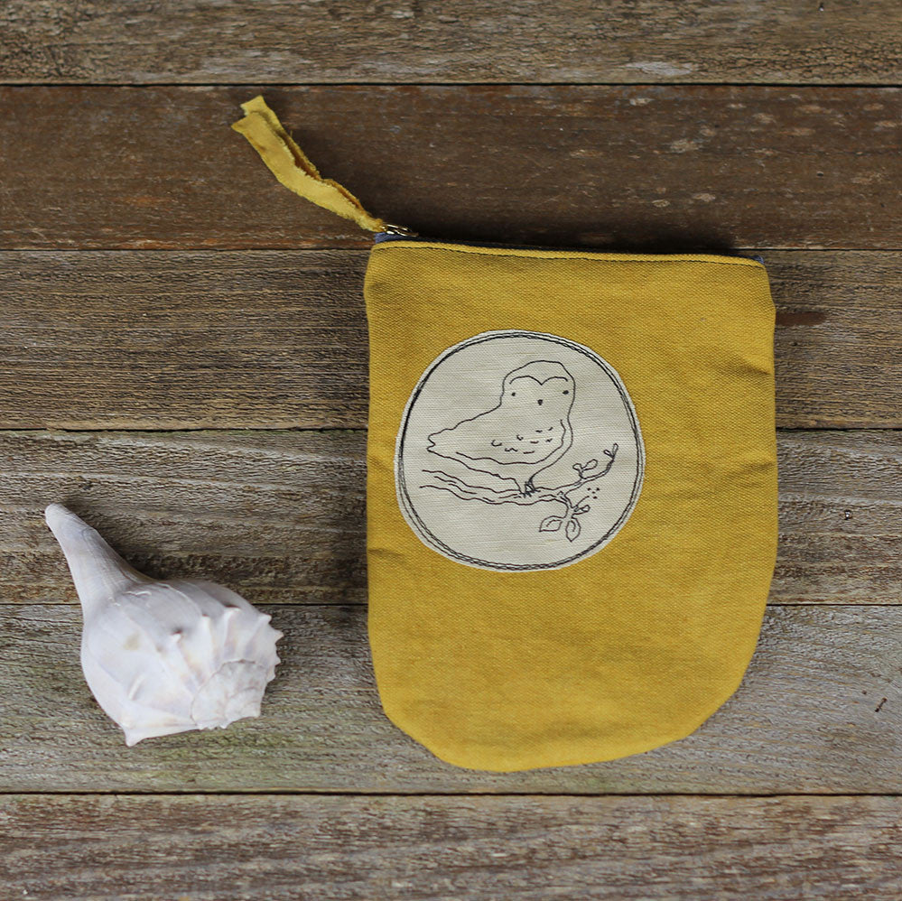 tall plant dyed zipper pouch: owl